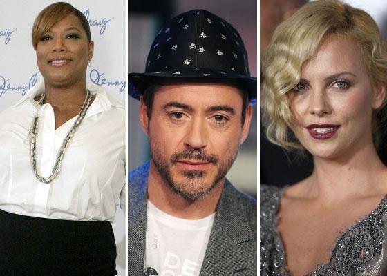 Na montagem acima, os atores Queen Latifah, Robert Downey Jr. e Charlize Theron