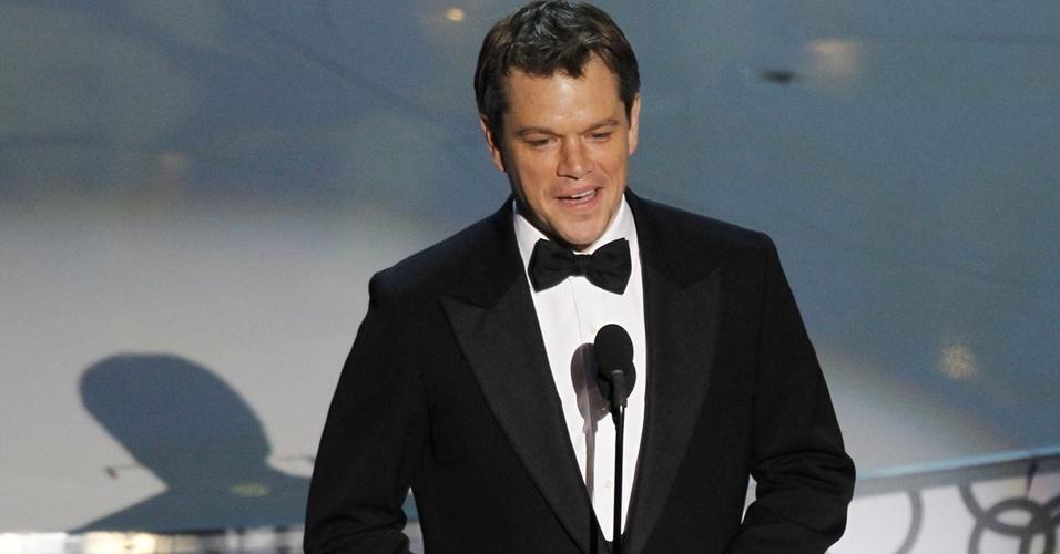 Matt Damon apresenta uma categoria na 82ª cerimônia de entrega dos prêmios Oscar (07/03/21010)