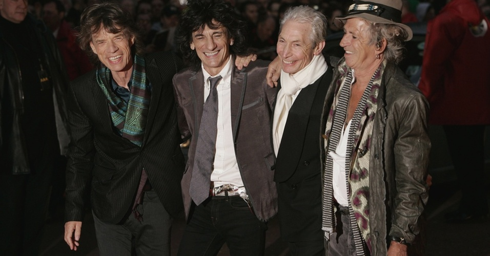 Mick Jagger, Ronnie Wood, Charlie Watts e Keith Richards, da banda Rolling Stones, participam de evento em Londres, em imagem de 2008
