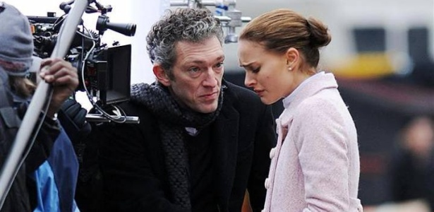 Natalie Porter e Vincent Cassel nas filmagens de 