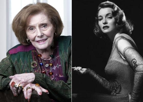 À esquerda, Patricia Neal participa de entrevista nos EUA, em 2008; à direita, imagem da atriz em 1940