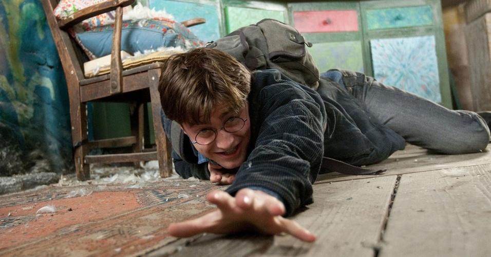 Dabiel Radcliffe como Harry Potter em cena de