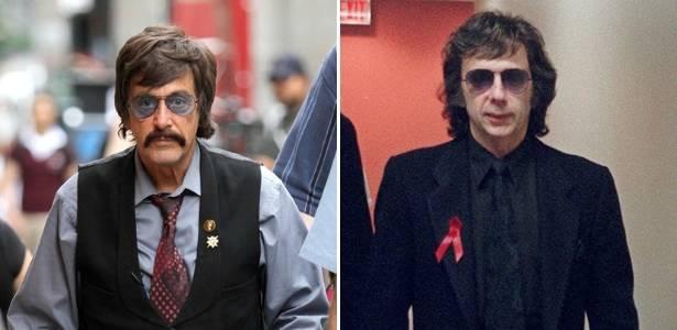 O ator Al Pacino caracterizado como o produtor musical Phil Spector para o telefilme da HBO; à dir., Phil Spector em foto de 1998