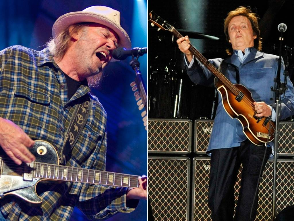 Os músicos Neil Young e Paul McCartney
