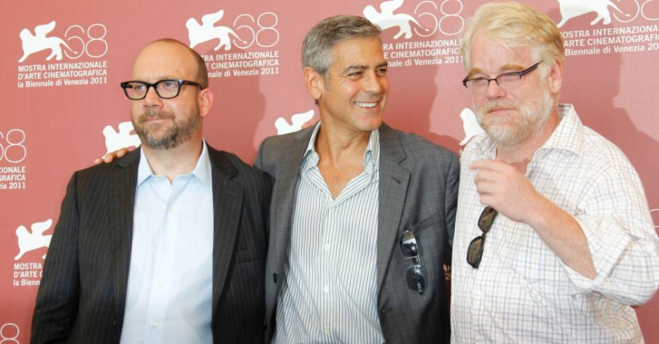 Os atores Paul Giamatti, George Clooney e Philip Seymour Hoffman abrem o Festival de Veneza com o filme 