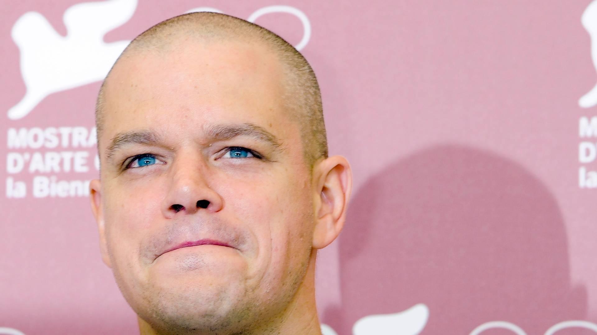 O ator Matt Damon posa para fotos durante a divulgação de
