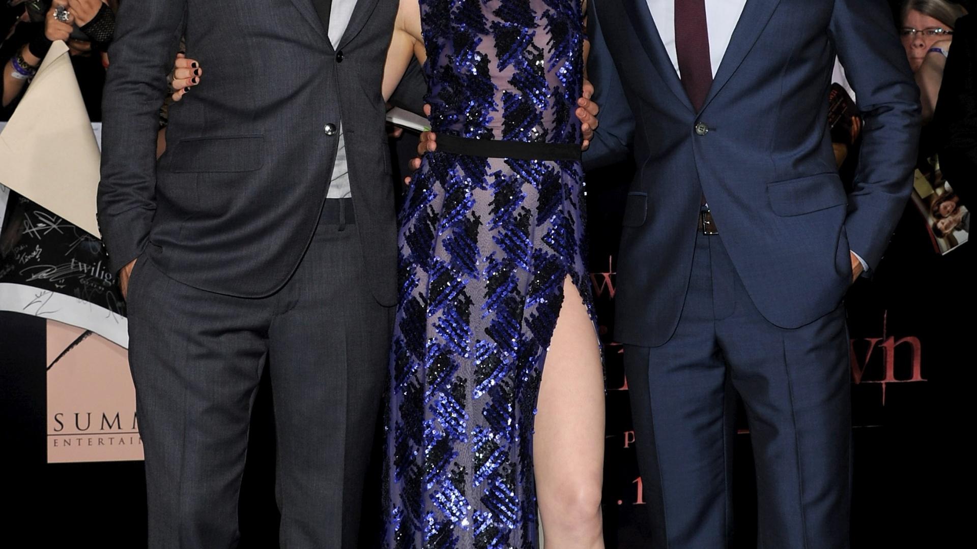 Robert Pattinson, Kristen stewart e Taylor Lautner na pré-estreia de