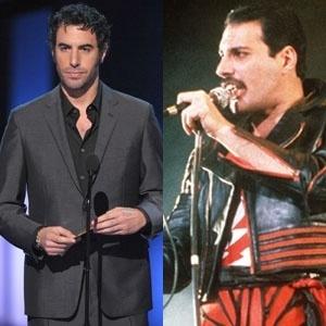 O ator Sacha Baron Cohen (à esq) e o cantor Freddie Mercury (à dir.)