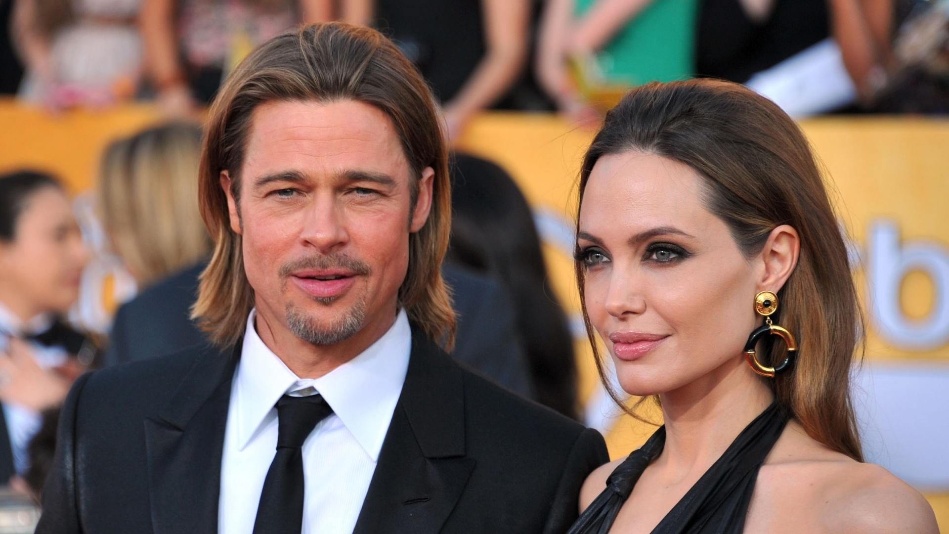 O casal Angelina Jolie e Brad Pitt chegam ao Screen Actors Guild Awards em Los Angeles (29/1/12)