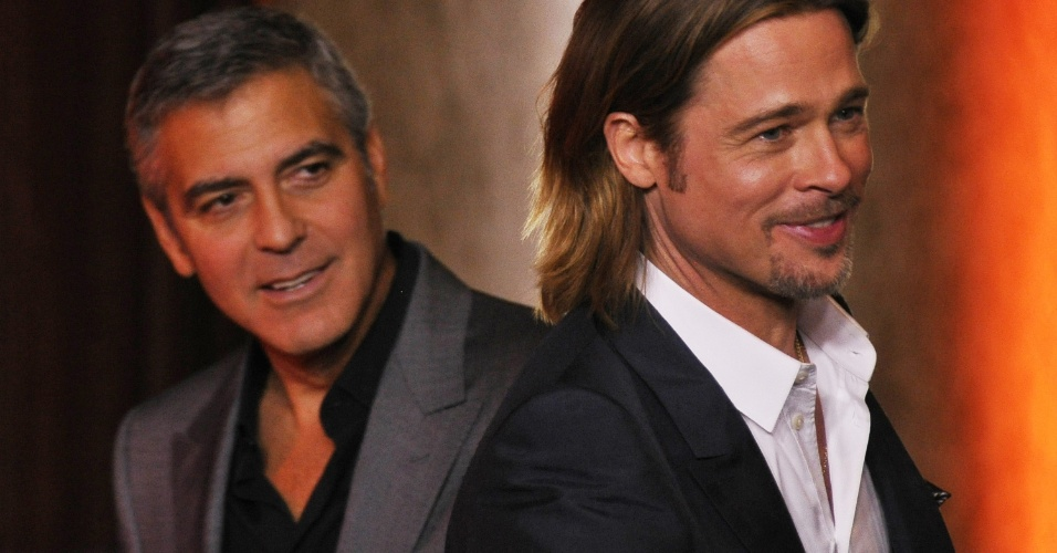 George Clooney e Brad Pitt se encontram em tradicional jantar pr-Oscar em Beverly Hills (06/02/12)