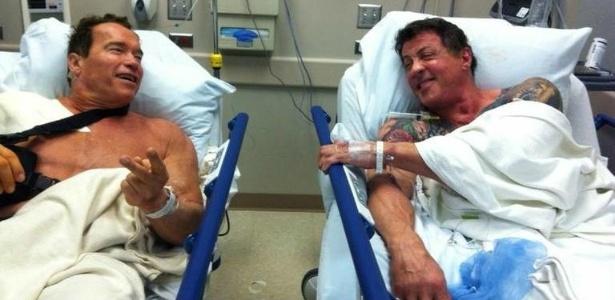 Arnold Schwarzenegger e Sylvester Stallone se encontram em hospital, nos EUA (8/2/12)