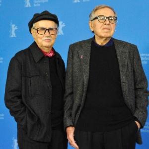 """Os diretores do filme """"César Deve Morrer"""", Vittorio e Paolo Taviani no Festival de Berlim (11/2/12)"""