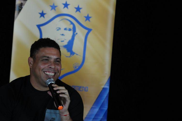 O ex-jogador Ronaldo na coletiva e primeira exibição do documentário