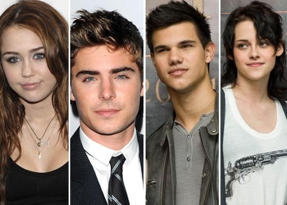 Na imagem, os atores americanos Miley Cyrus, Zac Efron, Taylor Lautner e Kristen Stewart