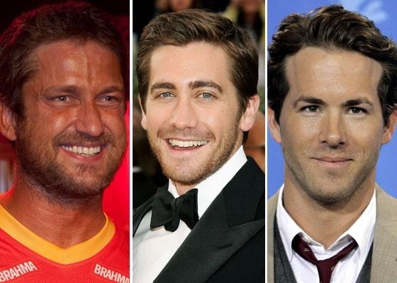 Na imagem acima, os atores Gerard Butler, Jake Gyllenhaal e Ryan Reynolds