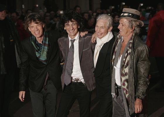 Mick Jagger, Ronnie Wood, Charlie Watts e Keith Richards, da banda Rolling Stones, participam de evento em Londres, em imagem de 2008