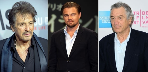Da esquerda para a direita, os astros do cinema Al Pacino, Leonardo DiCaprio e Robert De Niro