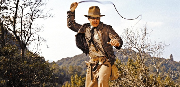 """O ator Harrison Ford em cena do filme """"Indiana Jones - E Os Caçadores da Arca Perdida"""" de 1981"""