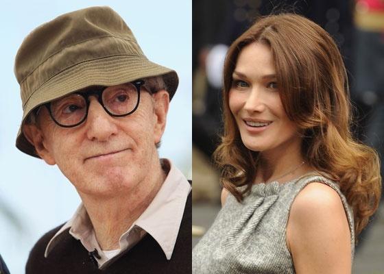 Montagem com o cineasta Woody Allen e a atriz Carla Bruni
