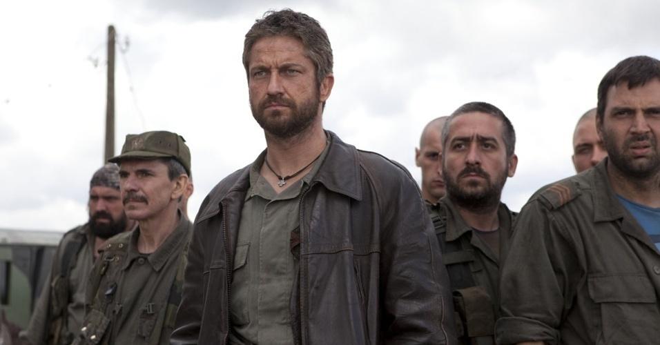Gerard Butler em cena do filme ''Coriolanus'', de Ralph Fiennes
