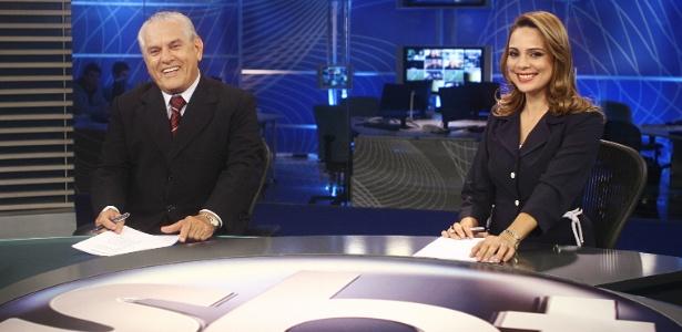 Joseval Peixoto e Rachel Sheherazade na bancada do novo telejornal SBT Brasil