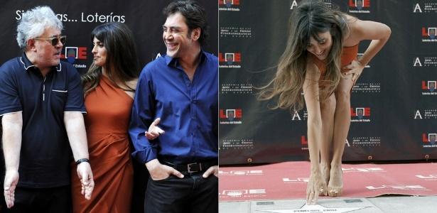 O diretor Pedro Almodóvar, a atriz Penélope Cruz e o marido, o ator Javier Bardem, estreiam calçada da fama de Madri (27/6/2011) - EFE/Juanjo MartÌn