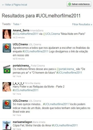 Página de busca da hashtag #UOLmelhorfilme2011, usada para a votação do melhor filme de 2011