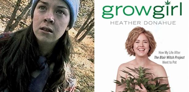 """Heather Donahue em """"A Bruxa de Blair"""" (1999) e na capa de seu livro"""