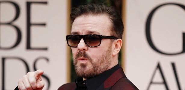 O humorista Ricky Gervais na premiação do Globo de Ouro (15/1/2012) - AP