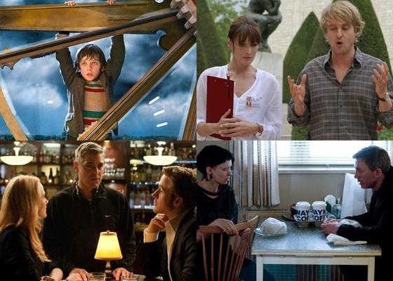 """Da esquerda para a direita, """"A Invenção de Hugo Cabret"""", """"Meia Noite em Paris"""", """"Tudo pelo Poder"""" e """"Millenium: Os Homens que não Amavam As Mulheres"""", são alguns dos favoritos ao Oscar 2012"""