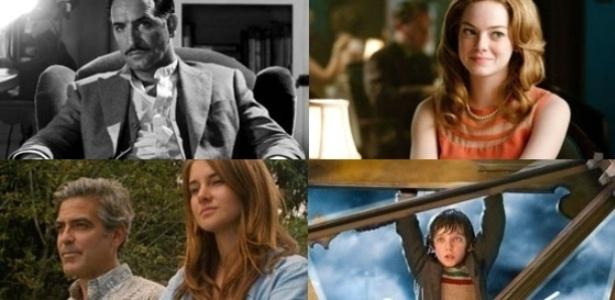 """Da esquerda para a direita, """"O Artista"""", """"Histórias Cruzadas"""", """"Os Descendentes"""" e """"A Invenção de Hugo Cabret"""", que receberam indicações ao Oscar 2012 - Fotomontagem/UOL"""