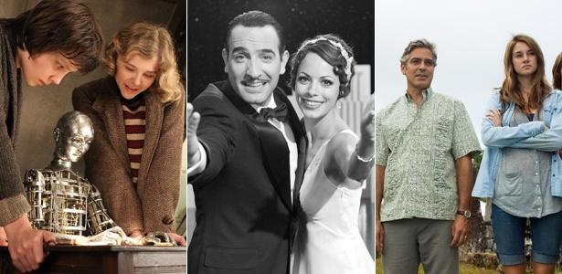 """Cenas dos filmes """"A Invenção de Hugo Cabret"""", """"O Artista"""" e """"Os Descendentes"""", indicados ao Oscar"""