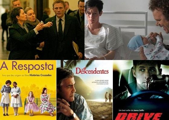 """As versões cinematográficas de """"Millenium: Os Homens que não Amavam As Mulheres"""" e """"Precisamos Falar com Kevin"""" e as capas dos livros """"A Resposta"""", """"Drive"""" e """"Os Descendentes"""""""