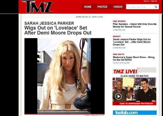 """Site TMZ divulgou foto da atriz Sarah Jessica Parker nas gravações de """"Lovelace"""""""