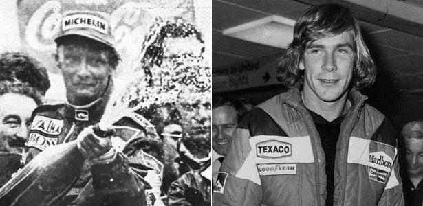 Os pilotos da Fórmula 1 Niki Lauda (à direita) e James Hunt